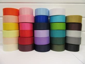 38mm Grosgrain Ribbon 2 metres or 20 metre roll double sided Ribbed UK