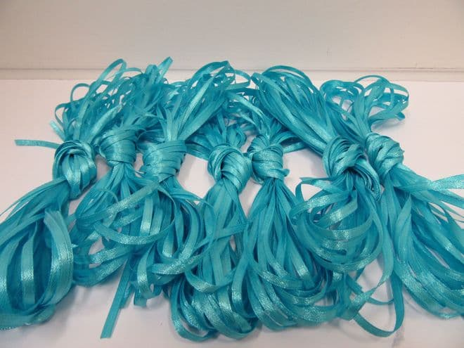 3mm Bundle Sky Blue x 10 metres Polyester ribbon double sided Clearance