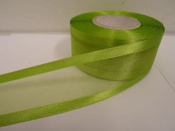 Apple bright Green satin edged organza ribbon, 2 or 25 metres, Double sided, 10mm, 15mm, 25mm, 40mm, 70mm