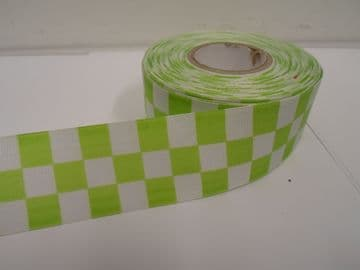 Apple light Green 2 metres or 20 metre roll x 38mm Grosgrain ribbon square chequered block race track finish line