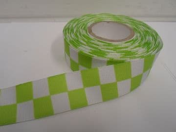 Apple light Green & White 2 mtrs or 20 metre roll x 25mm Grosgrain ribbon square block race finish lin