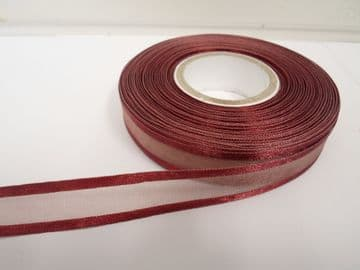 Maroon satin edged organza ribbon, 2 or 25 metres, Double sided, 10mm, 15mm, 25mm, 40mm, 70mm