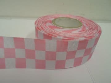 Baby light Pink 2 metres or 20 metre roll x 38mm Grosgrain ribbon square chequered block race track finish line