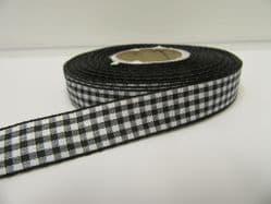 Black 2 metres or full roll x 15mm Gingham Ribbon Double Sided check UK