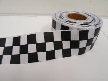 Black & White 2 metres or 20 metre roll x 38mm Grosgrain ribbon square block race track finish line
