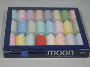 Box of Coats Moon Thread - 24 Rolls Dark / Light Colours Machine Cotton