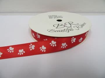 Bright Red with White Paw Print  Satin ribbon Double sided 3mm 7mm 15mm 25mm