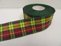 Buccannon Green Red Yellow Tartan Ribbon 2 metres or 25 metres (Full Roll) double sided scotish 12mm, 16mm, 25mm & 38mm