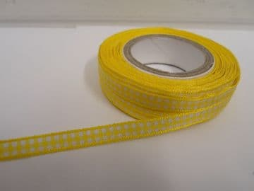 Canary bright Yellow 2 metres or full roll x 5mm Gingham Ribbon Double Sided check UK