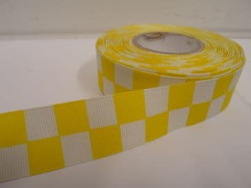 Canary bright Yellow & White 2 metres or 20 metre roll x 25mm Grosgrain ribbon square chequered block race track finish line