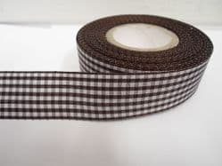 Chestnut dark Brown 2 metres or full roll x 25mm Gingham Ribbon Double Sided check UK