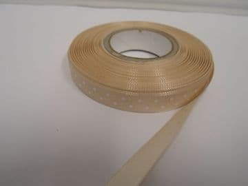 Cream & White Polka dot / spotty satin ribbon 2 or 20 metres x 10mm