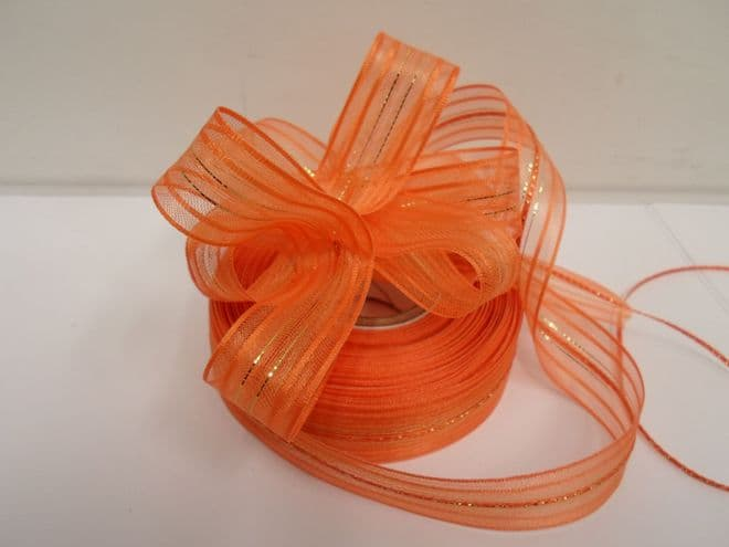 Dark Orange 2 or 25 metres 25mm Fasbo Pull Bow Ribbon Roll Craft Double Side Bows UK