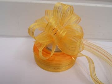 Dark Yellow 2 or 25 metres 25mm Fasbo Pull Bow Ribbon Roll Craft Double Side Bows UK
