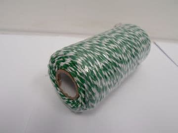 Emerald Green & White 2 metres or Full 100m Roll 1mm Bakers Twine Rope String Thread Cord White and stripe