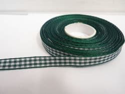Forest dark Green 2 metres or full roll x 10mm Gingham Ribbon Double Sided check UK