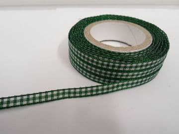 Forest dark Green 2 metres or full roll x 5mm Gingham Ribbon Double Sided check UK