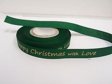 Green & Yellow 2 or 20 metres 15mm Happy Christmas with Love Woven Ribbon Xmas Roll Craft
