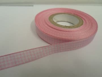 Light baby Pink 2 metres or full roll x 10mm Gingham Ribbon Double Sided check UK