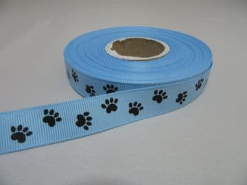 Light Blue with Black Paw Print  Grosgrain ribbon, 2 or 20 metres, Double sided 16mm