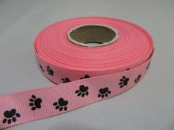 Light Pink  with Black Paw Print  Satin or Grosgrain ribbon Double sided 3mm 7mm 16mm  15mm  25mm