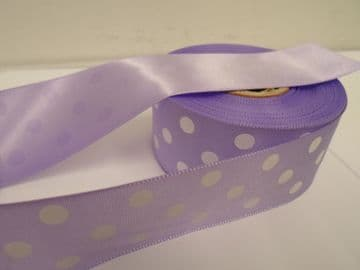 Lilac light Purple & White polka dot / spotty satin ribbon 2 or 20 metres x 38mm