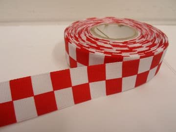 Poppy bright Red & White 2 metres or 20 metre roll x 25mm Grosgrain ribbon square chequered block race track finish line