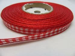 Red 2 metres or full roll x 6mm Gingham Ribbon Double Sided check UK
