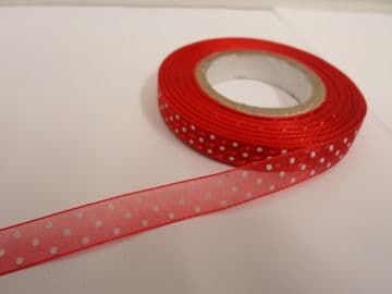 Red and White polka dot / spotted organza ribbon 2 or 20 metres x 10mm