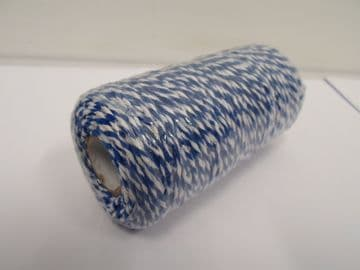 Royal Blue & White 2 metres or Full 100m Roll 1mm Bakers Twine Rope String Thread Cord White and stripe