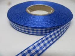Royal Dark Blue  2 metres or full roll x 10mm Gingham Ribbon Double Sided check UK