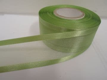 Sage Light Green satin edged organza ribbon 2 or 25 metres Double sided 10mm 15mm 25mm 40mm 70mm