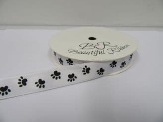 White with Black Paw Print Satin or Grosgrain ribbon, Double sided 3mm 7mm 15mm 25mm