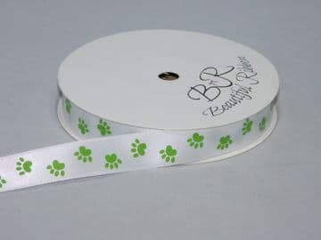 White  with Leaf  Green Paw Print  Satin or Grosgrain ribbon 2, 20 25 metres Double sided 16mm 15mm