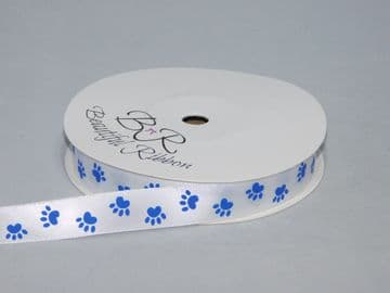 White  with Royal Blue Paw Print  Satin or Grosgrain ribbon 2, 20 25 metres Double sided 16mm 15mm