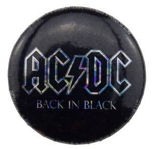 AC/DC - Back In Black Glitter Logo (25mm Button Badge)