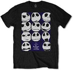 Nightmare Before Christmas Faces of Jack  T-shirt (SMALL)