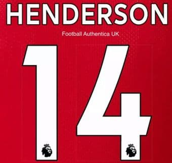 2019-22 Liverpool Home & Third Shirt HENDERSON#14 Official Football Name Number Set