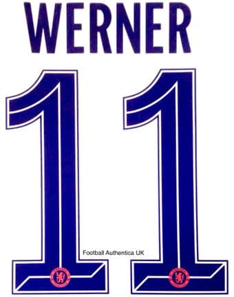 2020-21 Chelsea UCL & FA CUP & CARABAO CUP Third Shirt WERNER#11 Official Name Number Set