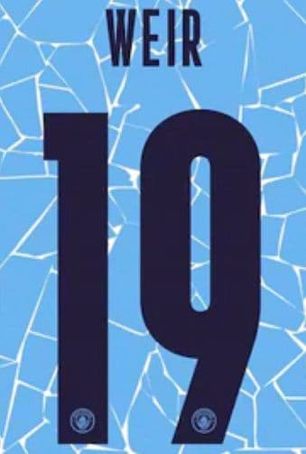 2020-21 Manchester City UWCL**Women's Champions League**Home Shirt WEIR#19 Official Name Number Set