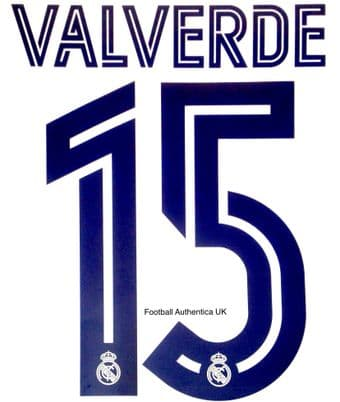 2020-21 Real Madrid UCL Home/Away Shirt VALVERDE#15 Official Player Issue Size Name Number Set