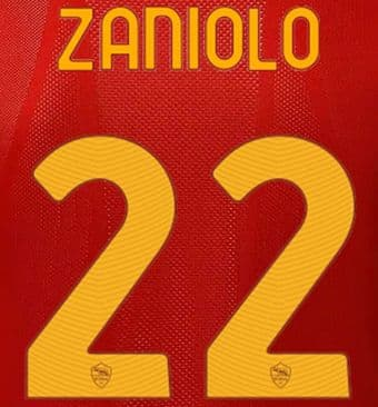 2021-22 AS Roma ZANIOLO#22 Home/Fourth Shirt Official Player Issue Size Name Number Set