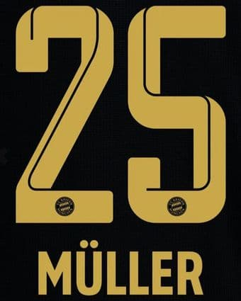 2021-22 Bayern Munich Away Shirt MULLER#25 Official Player Issue Size Name Number Set