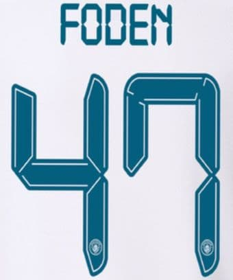 2021-22 Manchester City UCL & FA CUP Away Shirt FODEN#47 Official Football Name Number Set