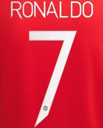 2021-22 Manchester United UCL & FA CUP Home Shirt RONALDO#7 Official Player Issue Name Number Set