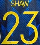 2021-22 Manchester United UCL Third Shirt SHAW#23 Official Player Issue Name Number Set