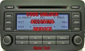 Blaupunkt RCD300 Radio7643223360  1K0 035 186P Radio Code Decode Unlock Codelocked code Service