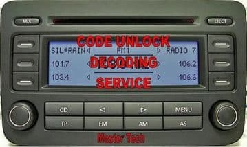 Blaupunkt RCD300 RCD 300 Radio 764222336  1K0 035 186D Radio Code Decode Unlock Codelocked code Service