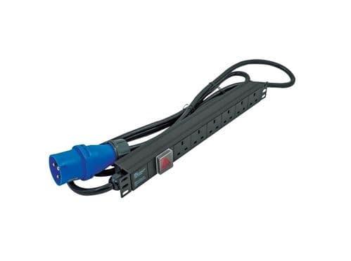 "1U 19"" 6 Way Switched Horizontal UK 13A Sockets to 16A Commando Plug PDU / Power Bar (Rackmount)"