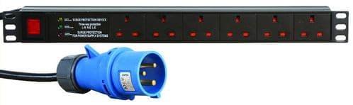 "1U 19"" 6 Way Switched Horizontal UK 13A Sockets to 16A Commando Plug PDU with Surge Protection"